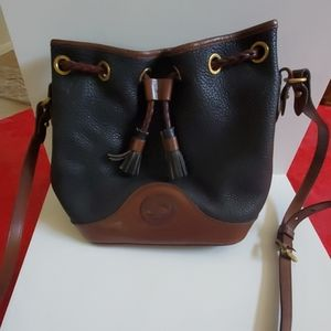 Dooney & Bourke Black & Brown Leather Bucket Bag